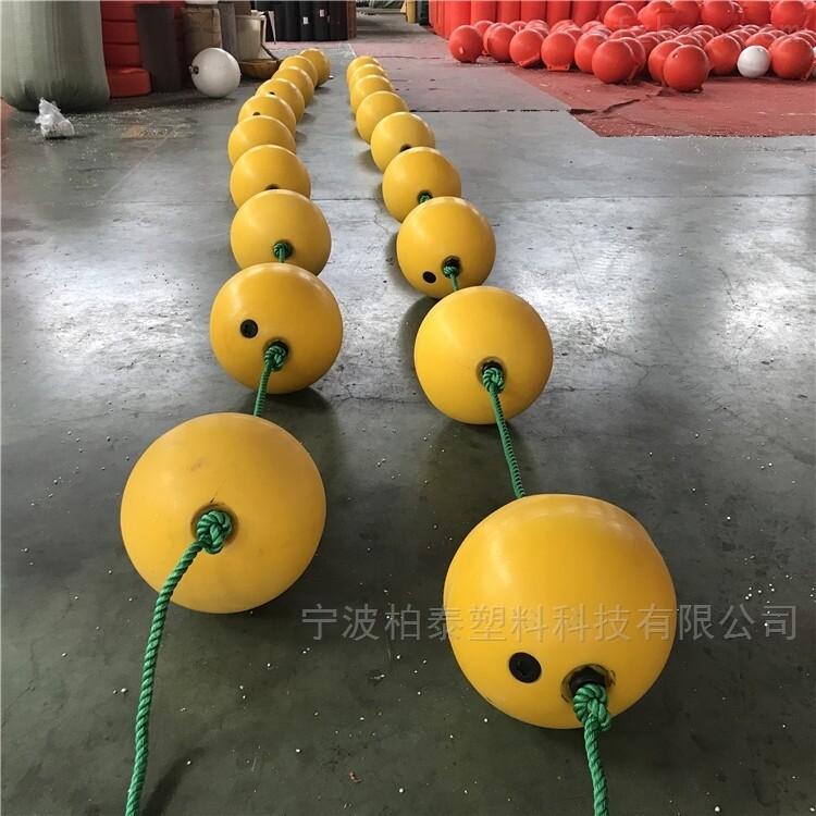 50厘米中间穿绳子浮球 海洋聚乙烯浮球批发