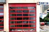消防大队红色电动提升门安装